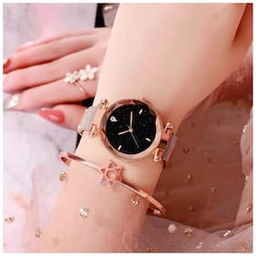 DREAM NIGHT BLK COLOR ANALOGUE DIAL WITH ROSE GOLD COLOR MAGNET BELT WATCH FAST SELLING TRACK DESIGNER WATCH FOR BIRTHDAY & PROFESSIONAL WEAR WATCH FOR GIRLS & LADIES
