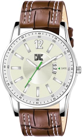 DWC 9322SL03 New Date Function Silver Dial Brown Strap Quality Analog Wrist Watch for Men n Boys