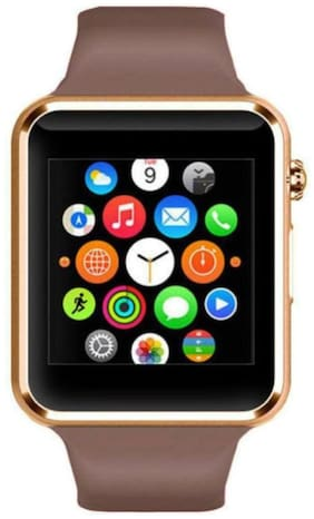 DWC A1 Touch Screen Smart Watch gold Smartwatch  (Brown Strap Free Size)