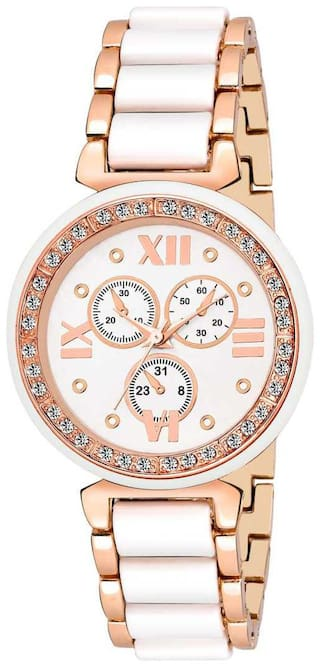 Locate Ellie New Designer Trendy Rosegold White analog Watch