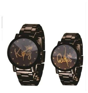 Emartos King Queen Black dial Couple combo watch