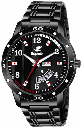 Espoir Analogue Stainless Steel Black Dial Day and Date Men's Boy's Watch - BlackBrockStrom