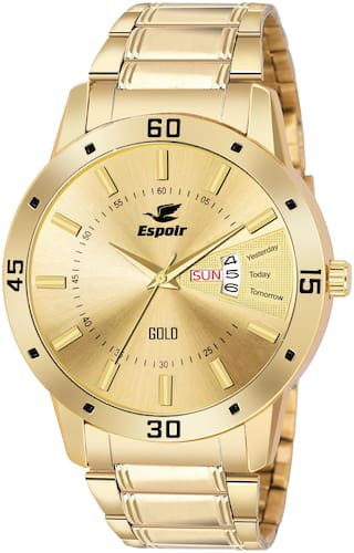 Espoir Analogue Gold Plated 18K Day and Date Golden Dial Men's Watch- LatestGold0507