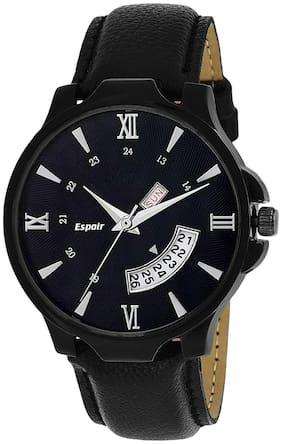 Espoir Analogue Black Dial Day And Date Men's & Boy's Watch - Black-Hammer0507