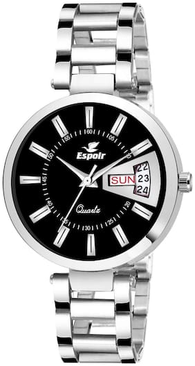 Espoir Analog Stainless Steel Day and Date Black Dial Girl's and Women's Watch - BlackDDManisha