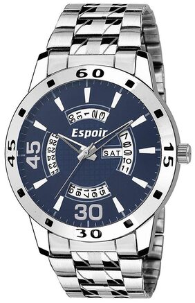 Espoir Analogue Stainless Steel Day & Date Blue Dial Men's Watch - Aren0507