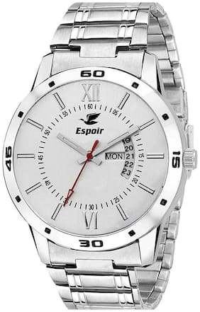 Espoir Analogue Stainless Steel White Dial Day & Date Men's Watch- WhiteWDD0507