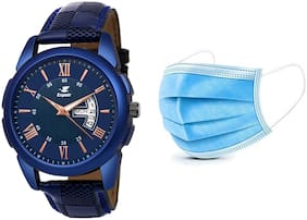 Espoir Analog Blue Dial Day and Date Boy's and Men's Watch - CheckBlueRay0507 (Free 2 Pcs Masks)