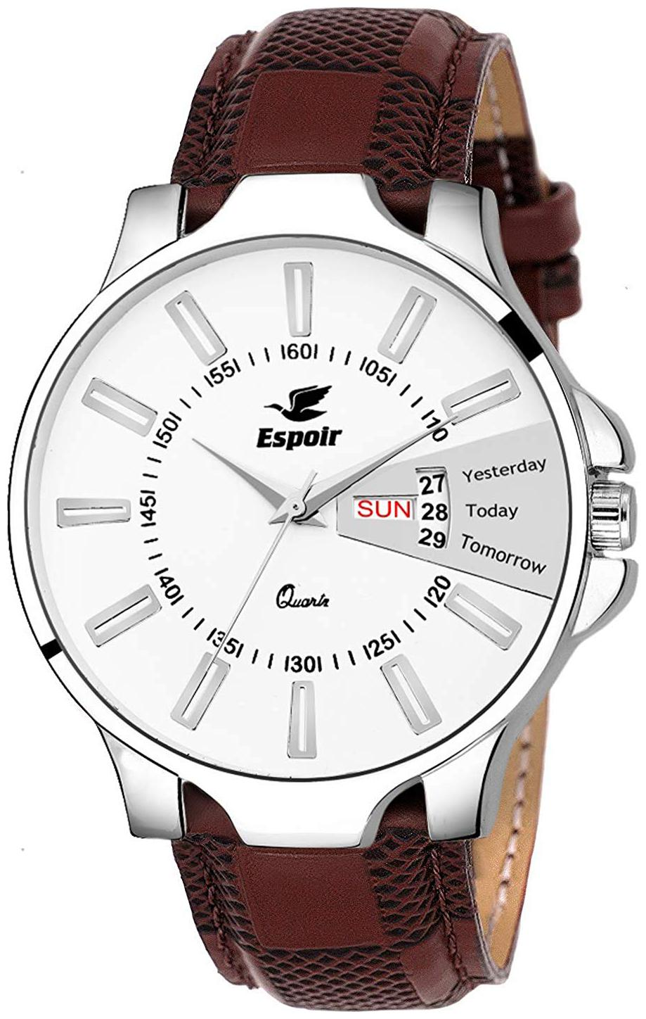 Espoir Analog White Dial Day and Date Boy's and Men's Watch -...
