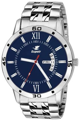 Espoir Analogue Stainless Steel Blue Dial Day & Date Men's Watch- A0507