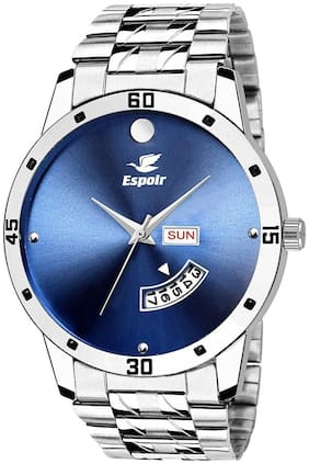 Espoir Analogue Stainless Steel Day And Date Blue Dial Men's Watch - BlueMovado-Sam0507