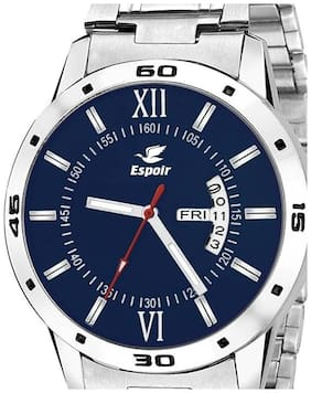 Espoir Analogue Stainless Steel Day & Date Blue Dial Men's Watch- Ranon0507