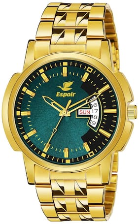 Espoir Analogue Stainless Steel Green Dial Day and Date Boy's and Men's Watch - BRAZIL0507