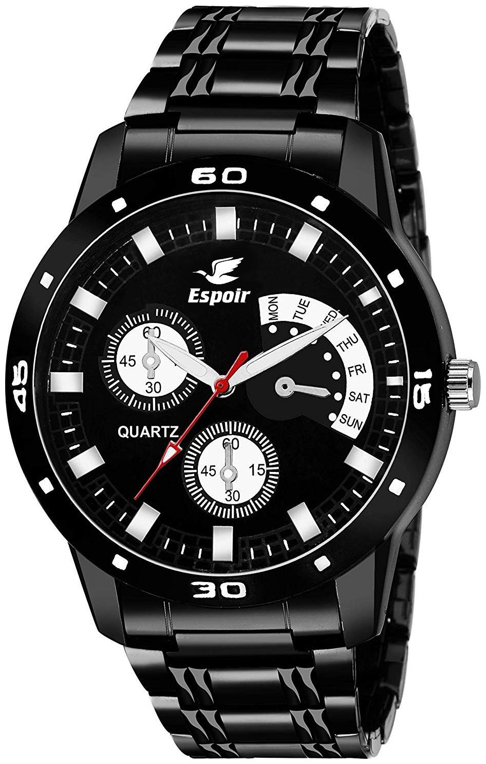 Espoir Analog Stainless Steel Black Dial Unique Style Boy's and Men's Watch...