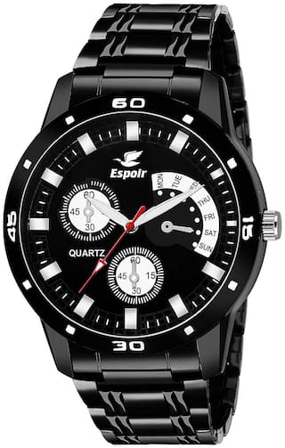 Espoir Analog Stainless Steel Black Dial Unique Style Boy's and Men's Watch - BlackStorm
