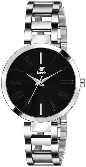 Espoir Analog Stainless Steel Black Dial Girl's and Women's Watch - ManishaBlack0507