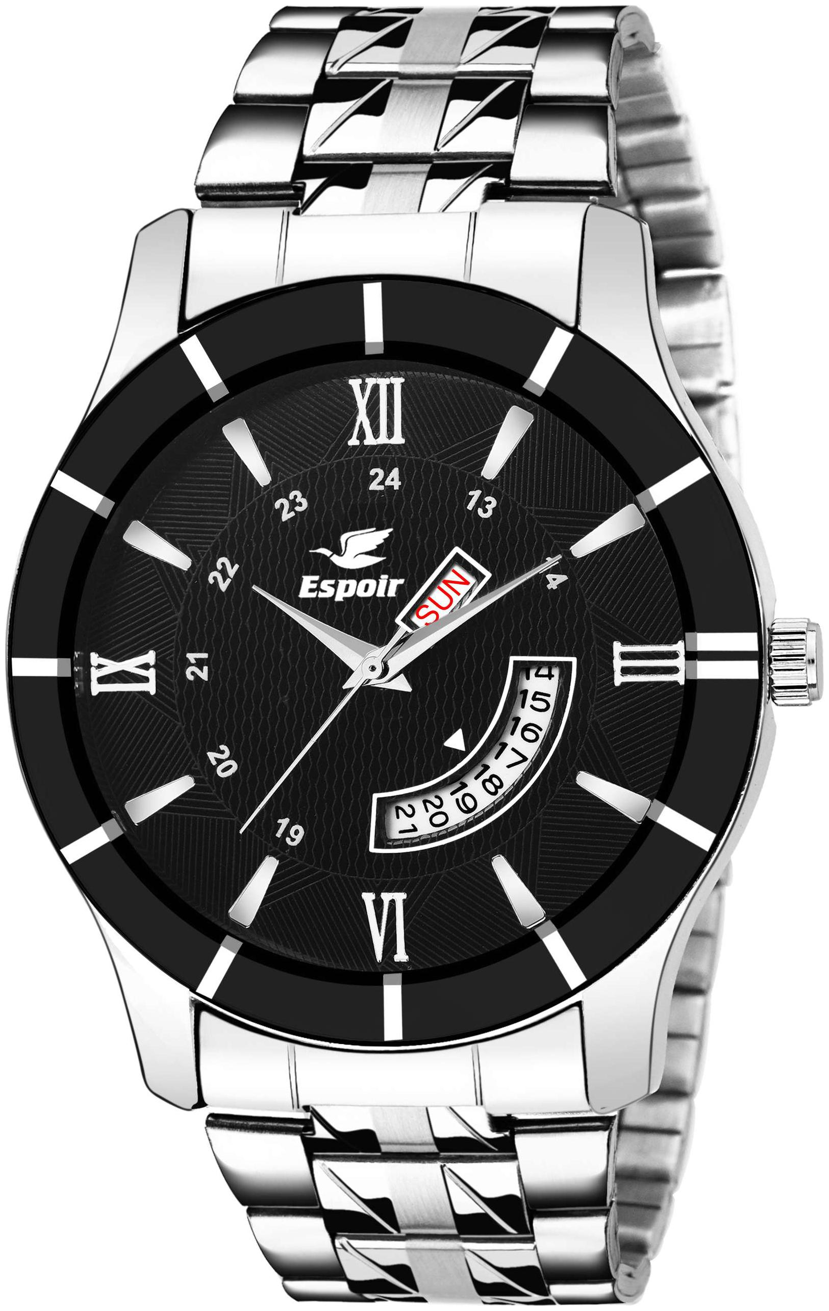 Espoir Analog Stainless Steel Day and Date Black Dial Men's Watch -...