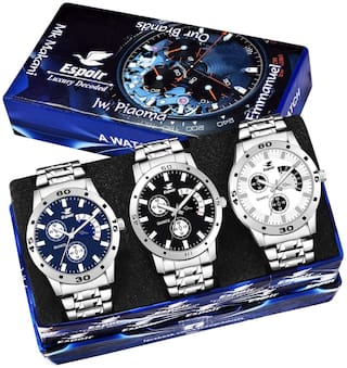Espoir Men's Silver Chain Strap Analog Dial Chronograph Not Working Watches Combo Of 3