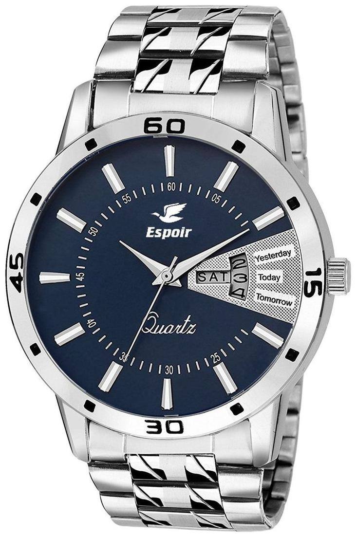 Espoir Stainless Steel Day and Date Blue Dial Analog Mens Watch -...