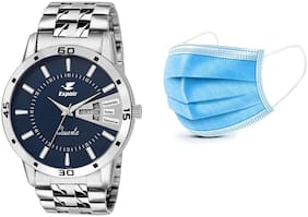 Espoir Stainless Steel Day and Date Blue Dial Analog Mens Watch - Sam0507 (Free 2 Pcs Masks)