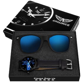 Exclusive Black And Blue Watch + FREE Black And Blue Wayfarer with Combo Box
