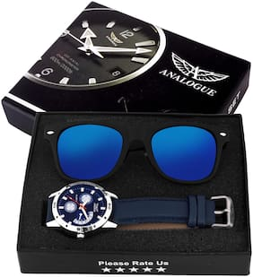 Exclusive Blue Watch + FREE Black And Blue Wayfarer with Combo Box