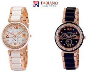 Fabiano New York White & Black Analog Women's and Girl's Wrist Watch