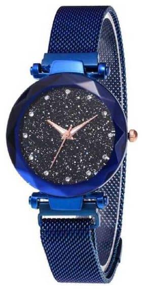 Farp Analog Magnet Belt Blue Colour Black Dial Womens Watch Ladies Watch