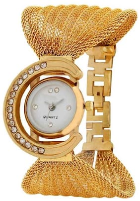 FARP Analog gold colour stainless steel womens watch ladies watch