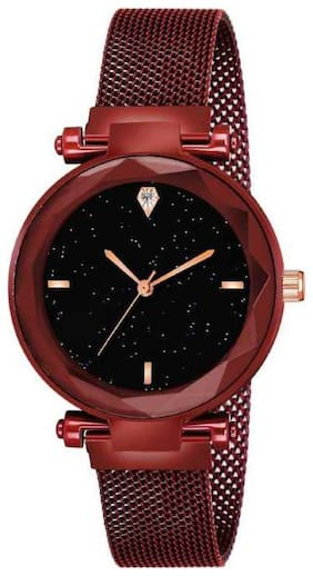Farp Analog Magnet Belt Red Colour Black Dial Womens Watch Ladies Watch
