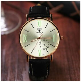 Fashion Leisure Business Unisex Rome Scale Luminous Leather Belt Watches(Silver Dial Black Strap)