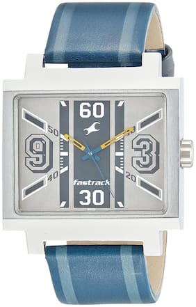 fastrack Silver Leather Analog Watch men