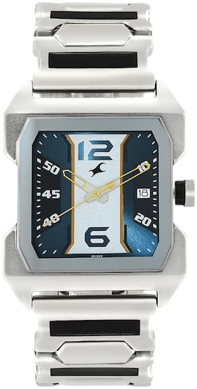 Fastrack Watch with Silver Stainless Steel Strap for Guys