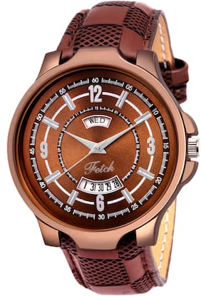 FETCH Analogue Brown Dial Day and Date Men's & Boy's Watch FW-0102