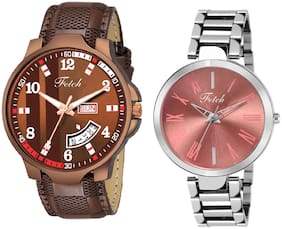 Fetch Leather Brown Dial Couple Watch For Men And Women