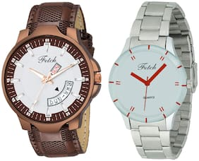 Fetch Leather White Dial Couple Watch For Men And Women