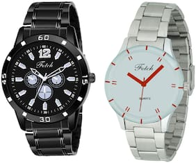 Fetch Stainless Steel Black Dial Couple Watch For Men And Women