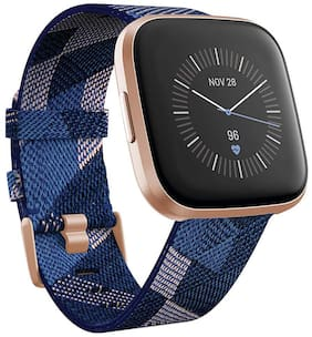 Fitbit Versa 2 Special Edition Health & Fitness Smartwatch with Heart Rate;Music;Alexa Built-in;Sleep & Swim Tracking;Navy & Pink Woven