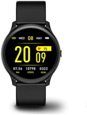 FitSpark NEXA Super Slim Round Bezel Multi Sports Mode Smartwatch | All Activity Tracking with Pedometer;Heart Rate Monitor;Music Control (Black)