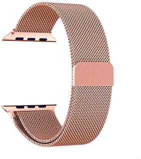 FOKATKART Stainless Steel Mesh Milanese Loop Strap for Apple Watch Series-5/4/3/2/1 Dial Size-42/44MM with Magnetic Clasp (ROSE GOLD)