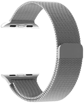 FOKATKART Stainless Steel Mesh Milanese Loop Strap for Apple Watch Series-5/4/3/2/1 Dial Size-38/40MM with Magnetic Clasp (SILVER)