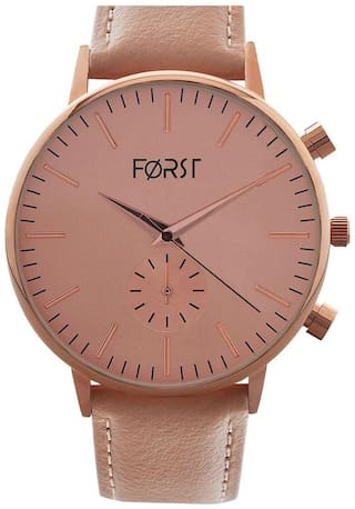 Forst Rose Gold-Toned Leather Strap Analogue Watch for Women