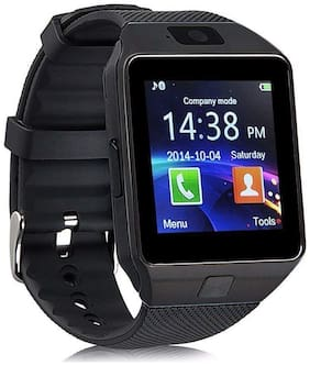 FORTUNSHOP DZ09 Aeifond Touch Screen Phone Fitness Tracker with Camera Pedometer SIM TF Card Slot Bluetooth Smart Watch for iOS AndroidBLACK