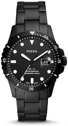 Fossil Fb-01 Three-Hand Date Black Stainless Steel Watch