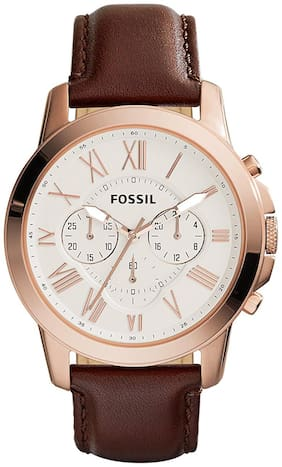 Fossil Grant Chronograph Brown Leather Watch - FS4991
