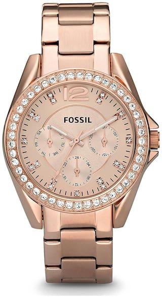Fossil Women's 'S Round Gold Analog Wrist Watch ES2811