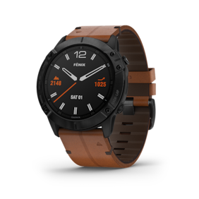 Garmin Fenix 6X Sapphire - Black DLC with Chestnut Leather Band