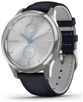 Garmin vivomove Luxe Silver Navy Leather Smart watch For Unisex