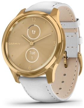 Garmin vivomove Luxe Gold White Leather Smart watch For Unisex