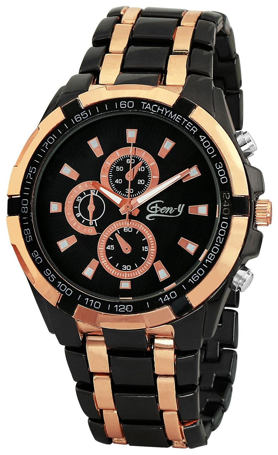 Gen Y GY 037 Black and Golden Analog Watch   For Boys and Men by Watches Mart